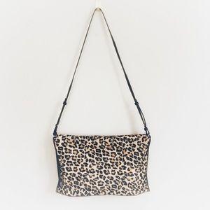 Zara Leopard and Faux Leather Crossbody Bag Purse